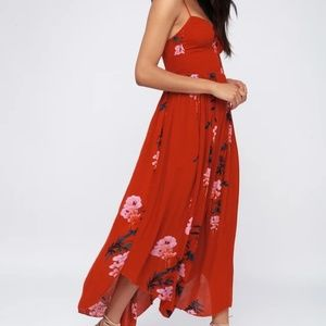 NWOT Free People Beau Maxi Smocked Red Dress